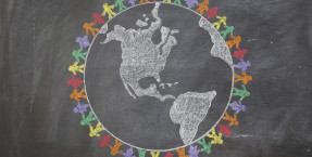 chalkboard drawing of world peace